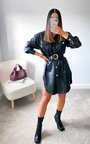 Tanya Faux Leather Shirt Dress Thumbnail