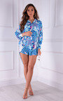 Tara Oversized Printed Button Up Shirt Dress Thumbnail