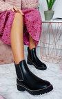 Tarra Faux Leather Chunky Heel Boots Thumbnail
