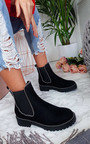 Tarra Faux Suede Chunky Heel Boots Thumbnail