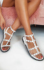 Teegan Ankle Strap Studded Sandals Thumbnail