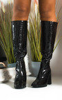 Teegan Croc Print Knee High Boots Thumbnail