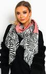 Tess Zebra Print Two Tone Scarf Thumbnail