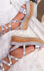 Tina Metallic Lace Up Wedge Sandal Thumbnail