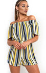 Tina Off Shoulder Striped Playsuit Thumbnail