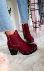 Trish Faux Suede Chunky Heel Boots Thumbnail
