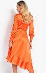Tyla Satin Wrap Midi Dress Thumbnail