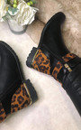 Una Faux Leather Leopard Ankle Boots Thumbnail