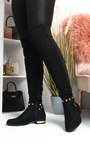 Una Faux Suede Studded Knee High Boots Thumbnail