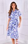 Una Tie Waist Printed Midi Dress Thumbnail