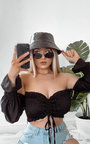 Valentina Satin Ruched Crop Top Thumbnail