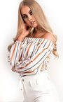 Veroni Off Shoulder Stripe Tie Top Thumbnail