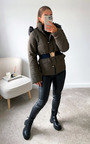 Veronika Belted Padded Jacket with Faux Fur Hood Thumbnail