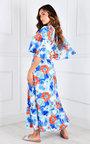 Vilma Cut Out Flute Sleeve V Neck Printed Maxi Dress Thumbnail