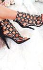 Viola Caged Faux Suede Heels  Thumbnail