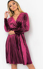 Virgo Velvet Tie Wrap Dress  Thumbnail