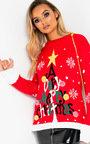 Vixen Oversized Slogan Christmas Jumper  Thumbnail