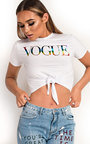 Vogue Metallic Slogan Tie Crop Top Thumbnail