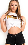 Vogue Slogan Tie Crop Top Thumbnail