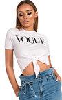 Vogue Slogan Tie Crop Top Thumbnail