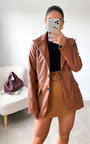 Winnie Faux Leather Blazer Jacket Thumbnail