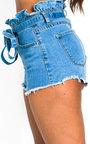 Xanthe Tie Waist Paperbag Denim Shorts Thumbnail
