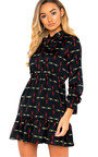 Yaz Tie Neck Printed Dress Thumbnail