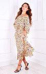Zamira Ruffle Hem Printed Midi Dress Thumbnail