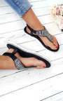 Zania Diamante Embellished T-Bar Sandals Thumbnail