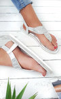 Zania Diamante Embellished T-Bar Sandals Thumbnail