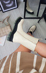 Zara Faux Leather Chunky Ankle Boot Thumbnail