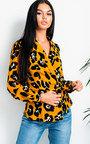 Zeena Leopard Print Wrap Blouse Top  Thumbnail