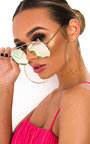 Zeena Rose Gold Lense Aviator Sunglasses Thumbnail