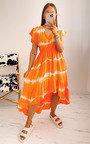 Zene Printed Ruffle Midi Dress Thumbnail