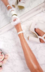 Zhafia PU Strappy Platform Faux Feather Block Heels Thumbnail