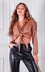 Zina Faux Leather Collared Tie Knot Crop Top Thumbnail
