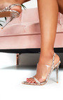 Zoe Barely There Perspex Strappy Heels Thumbnail