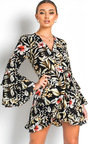 Zoey Floral Tie Wrap Dress  Thumbnail