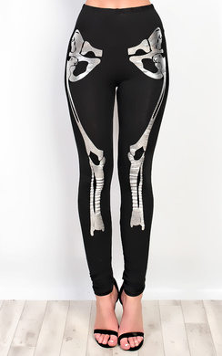 View the Skeleton Print Fancy Dress Metalic Leggings online at iKrush