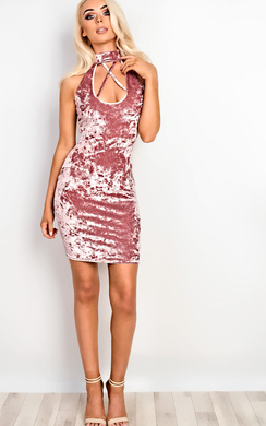 View the Belle Crushed Velvet Choker Bodycon Dress online at iKrush