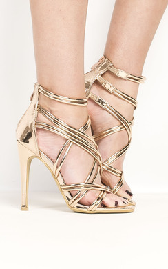 View the Genevieve Strappy Chrome High Heels  online at iKrush