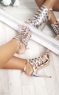 View the Terri Cut Out Chrome High Heels  online at iKrush