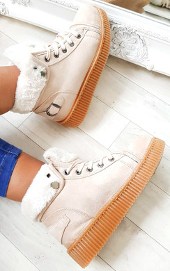 View the Layla Faux Suede Hi-Top  Platform Boots online at iKrush
