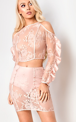 View the Zadie Cold Shoulder Lace Co-ord online at iKrush