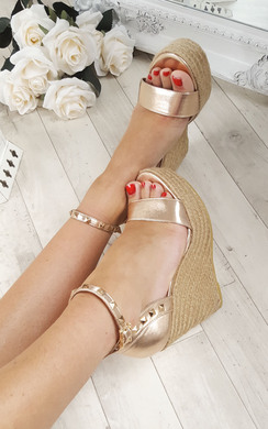 View the Oliviah Stud Strappy Wedge Sandals online at iKrush