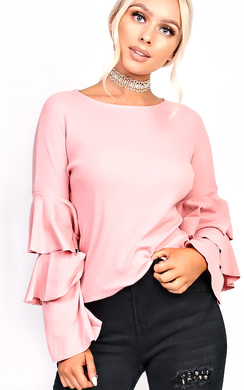 View the Jena Frill Sleeve Ribbed Jumper online at iKrush
