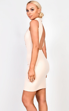 View the Raelynn High Neck Applique Bodycon Dress online at iKrush