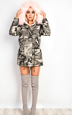 View the Kristina Camo Faux Fur Parka Jacket online at iKrush