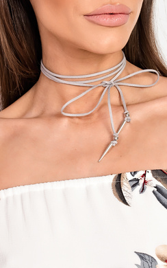 View the Imia Grey Suede Tie Up Choker online at iKrush
