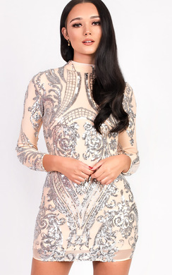 View the Alesha Sequin Long Sleeved Dress online at iKrush